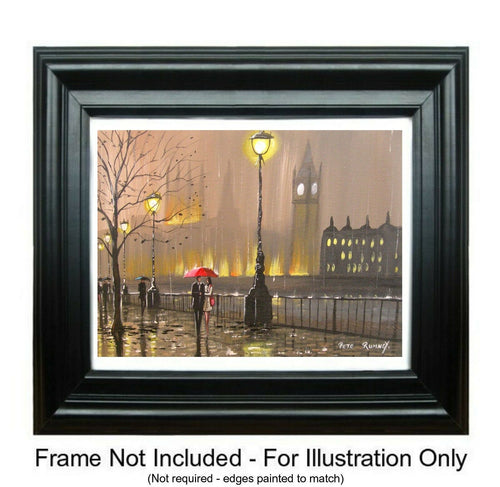 "AN ORIGINAL CANVAS OIL PAINTING ""A NIGHT IN THE LONDON RAIN"" - London Art and Souvenirs"