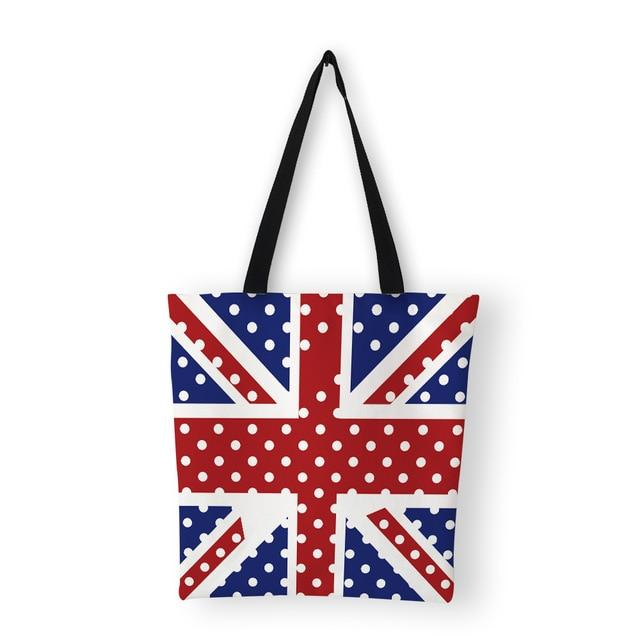 Women's  Canvas Shoulder Tote Bag Union Jack design - London Art and Souvenirs