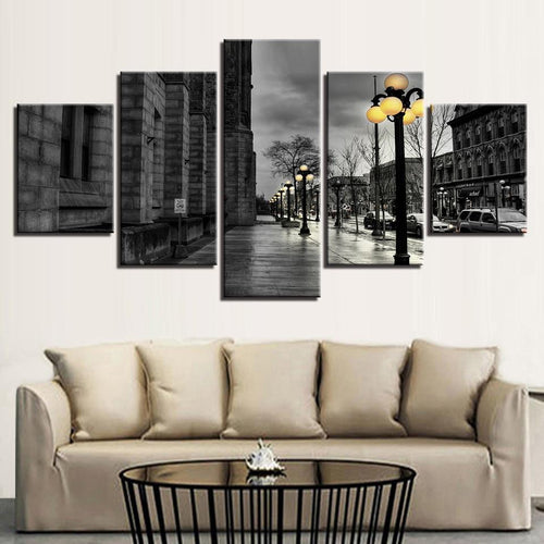 Canvas Painting Wall Art 5 Pieces Black & White London City Streetscape - London Art and Souvenirs