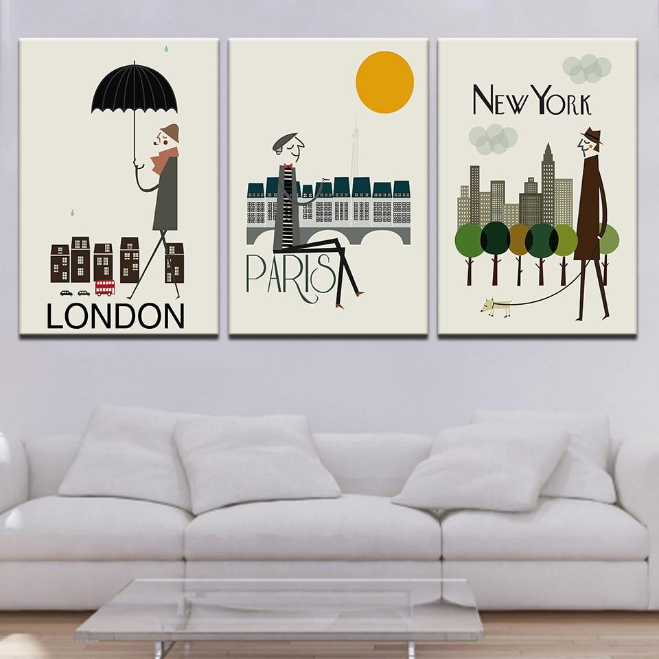 3 pieces Abstract  Canvas Print  London,Paris New York City Framed - London Art and Souvenirs