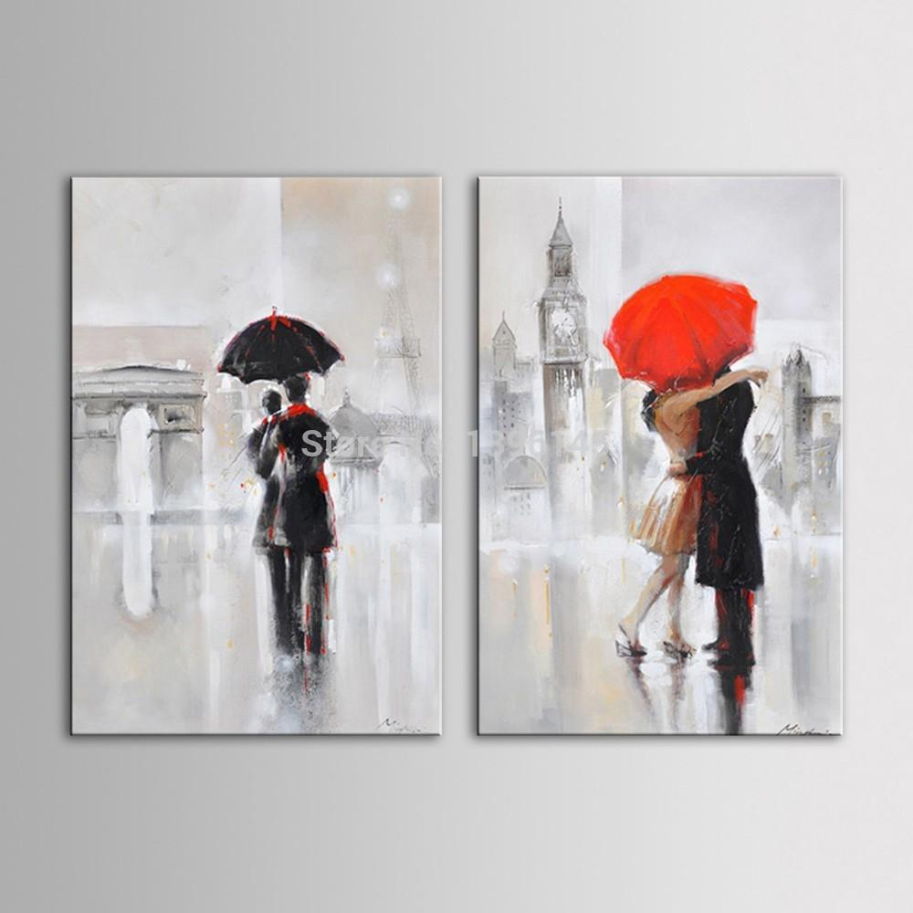 Hand Beautifully hand painted Oil Painting of Romantic Couple Kiss Under the Umbrella  Walking in London Rain-UNFRAMED