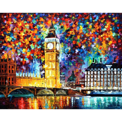 Modern art landscape London Big Ben palette knife oil painting UNFRAMED