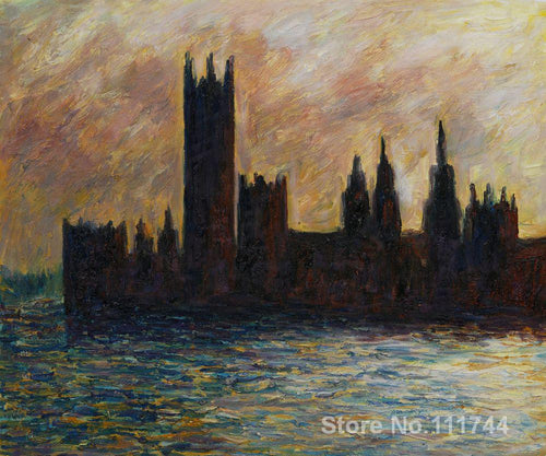 Reproduction of Painting by Claude Monet London. The Houses of Parliament (Sun Breaking through the Fog)