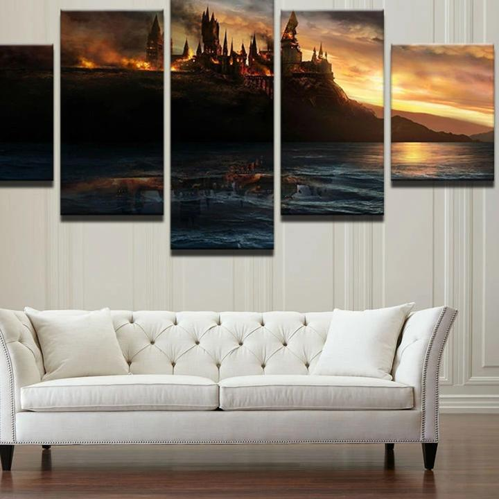 HARRY POTTER 5 PANEL HOGWALTS CANVAS ART PRINT