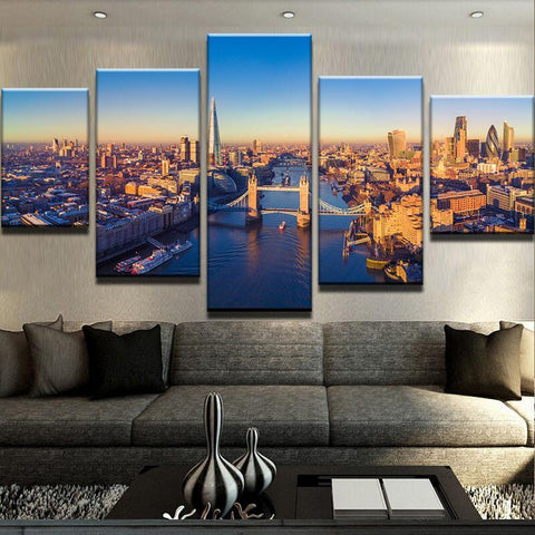 5 Pieces London City Buildings from  River Thames  at Sunset Canvas Print