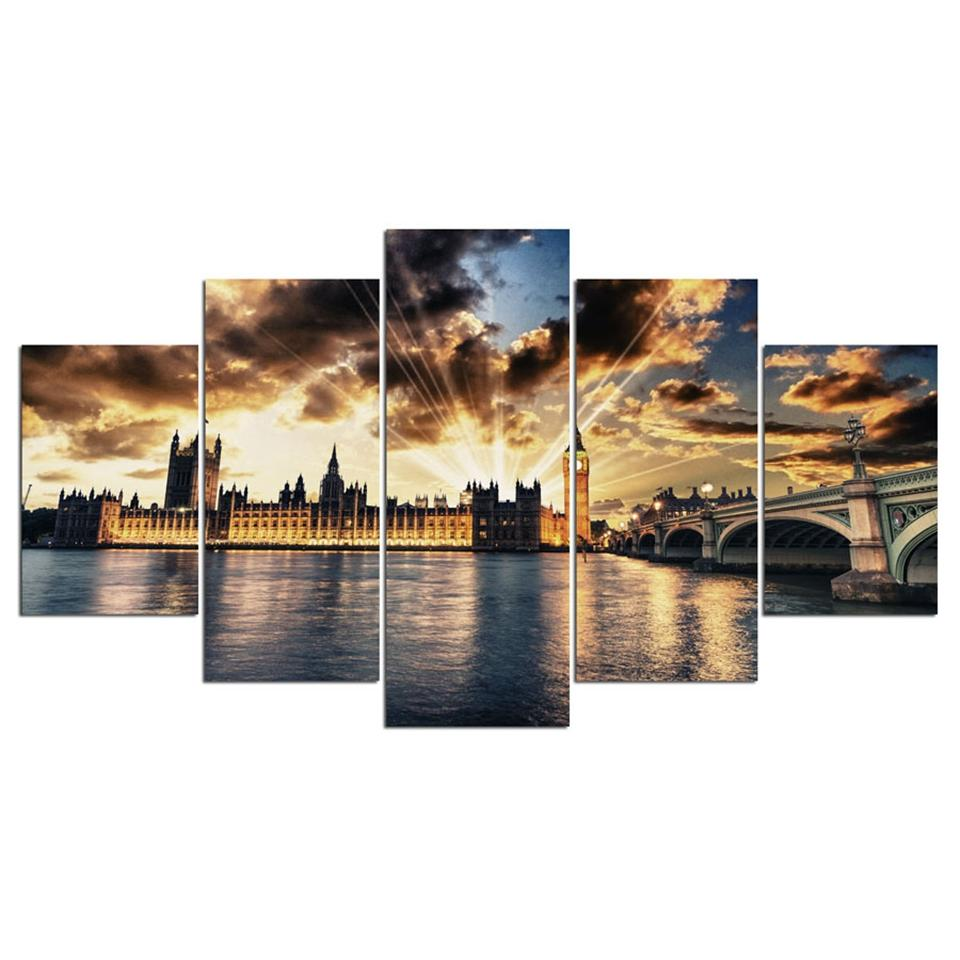 HD Canvas Wall Art print  5 Pieces London and The House of Parliament from the river thames