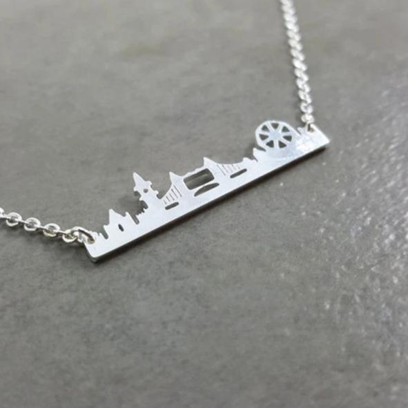 Hot Fashion Golden London Skyline Stainless Steel Chain Necklace - London Art and Souvenirs
