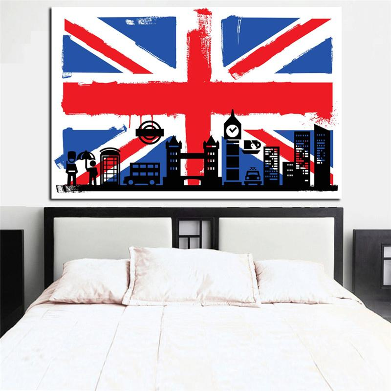 HD Print Union Jack  Flag with Big Ben Abstract printed on Canvas Modern Wall Art UNFRAMED