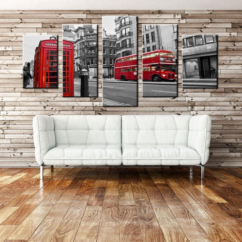 Decorative 5 Piece London Street Scene Art Print on Canvas - London Art and Souvenirs