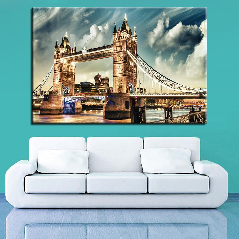 BEAUTIFUL HD CANVAS ART PRINT OF LONDON'S TOWER BRIDGE AT NIGHT-FRAMED O - London Art and Souvenirs
