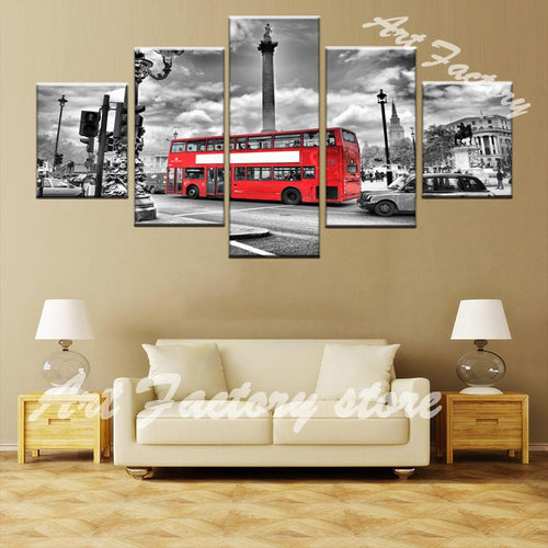 HD 5 Piece Canvas Print Classic London Red Bus - London Art and Souvenirs