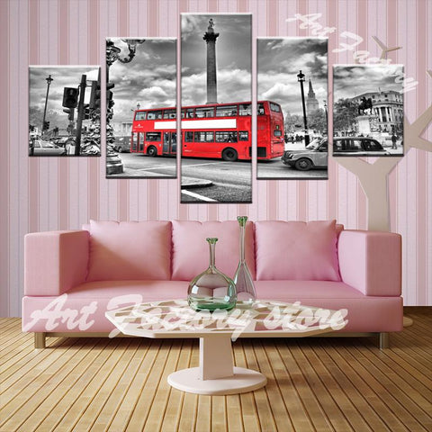 Vintage Printed Art Canvas Wall Painting  3 Panel Classic London Scenes