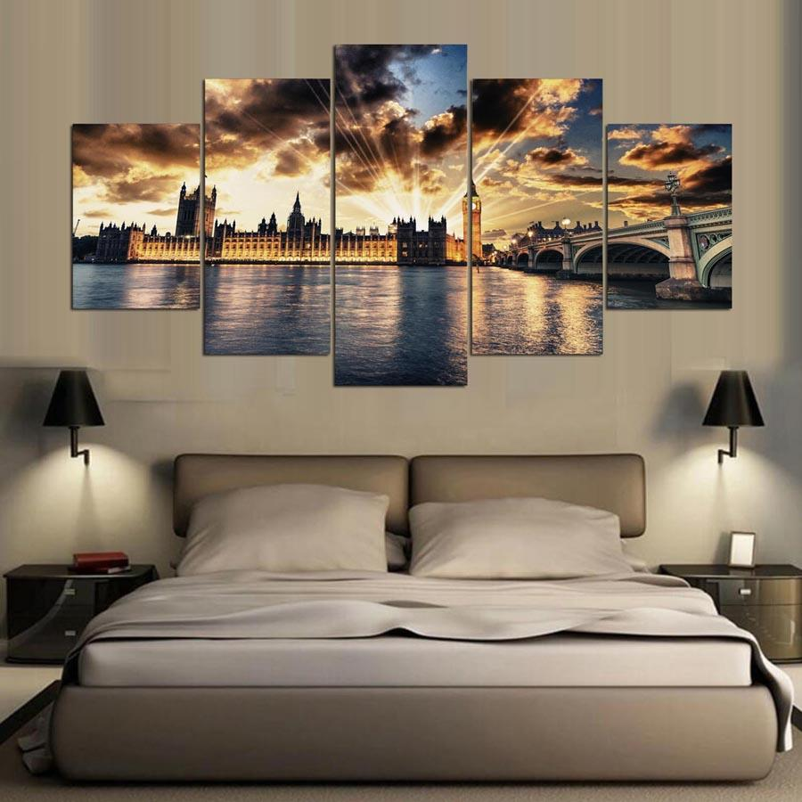 5 Pieces London City Buildings from  River Thames  at Sunset Canvas Print - London Art and Souvenirs