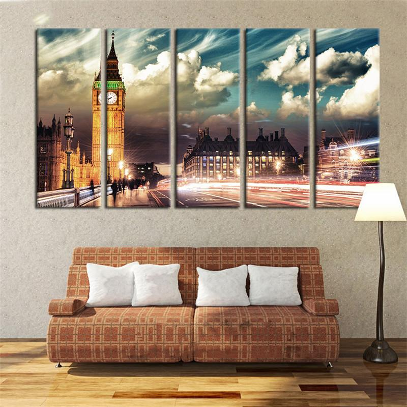 BEAUTIFUL  5-PIECE CANVAS PRINT OF LONDON'S BIG BEN AND THE HOUSES OF PARLIAMENT - London Art and Souvenirs