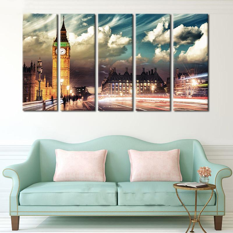 BEAUTIFUL  5-PIECE CANVAS PRINT OF LONDON'S BIG BEN AND THE HOUSES OF PARLIAMENT