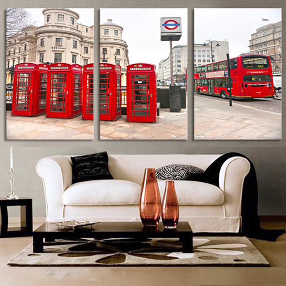 High quality Canvas Art print  London City Street with iconic Buses and Telephone boxes - London Art and Souvenirs
