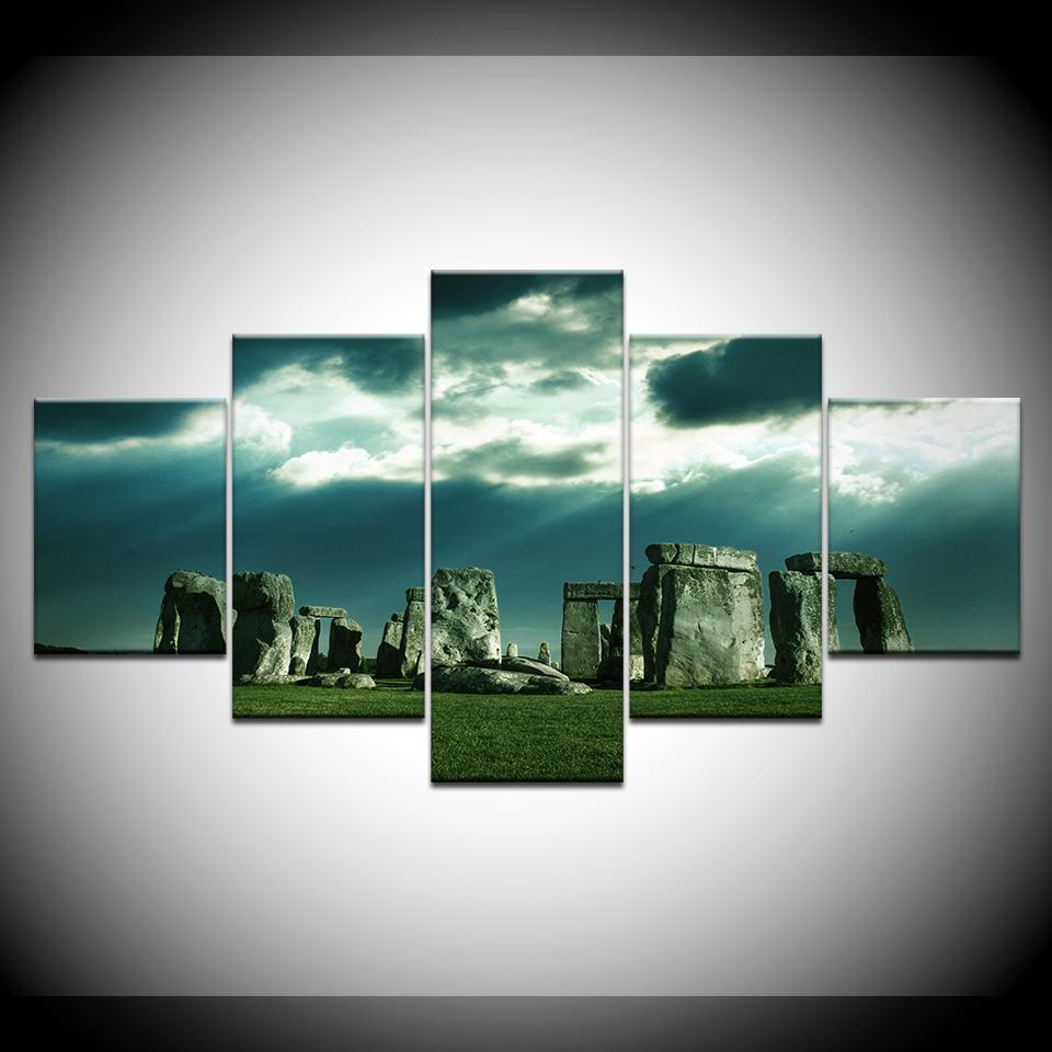 Stonehenge 5 Piece High Quality  Art Canvas Print FRAMED - London Art and Souvenirs