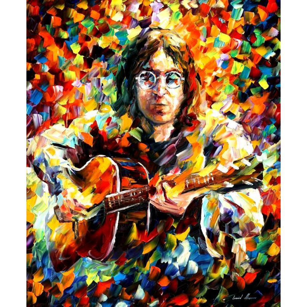 JOHN LENNON OIL PAINTING WITH PALLETE KNIFE