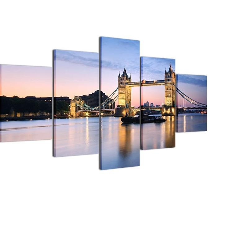 STUNNING 5 PIECE OIL PRINT ON CANVAS OF TOWER BRIDGE, LONDON