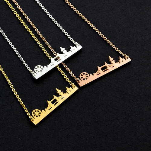 Hot Fashion Golden London Skyline Stainless Steel Chain Necklace