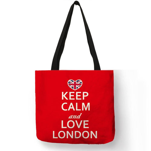 Bright Red Color Handmade Tote Bag  London Handbag