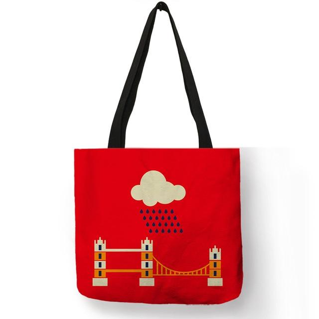 Bright Red Color Handmade Tote Bag  London Handbag - London Art and Souvenirs