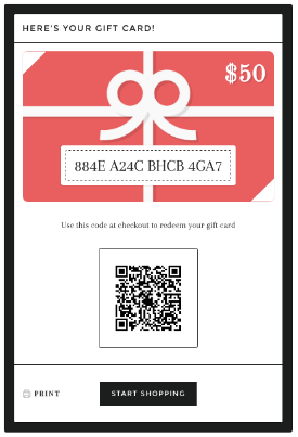 SPECIAL ONLINE STORE GIFT CARDS