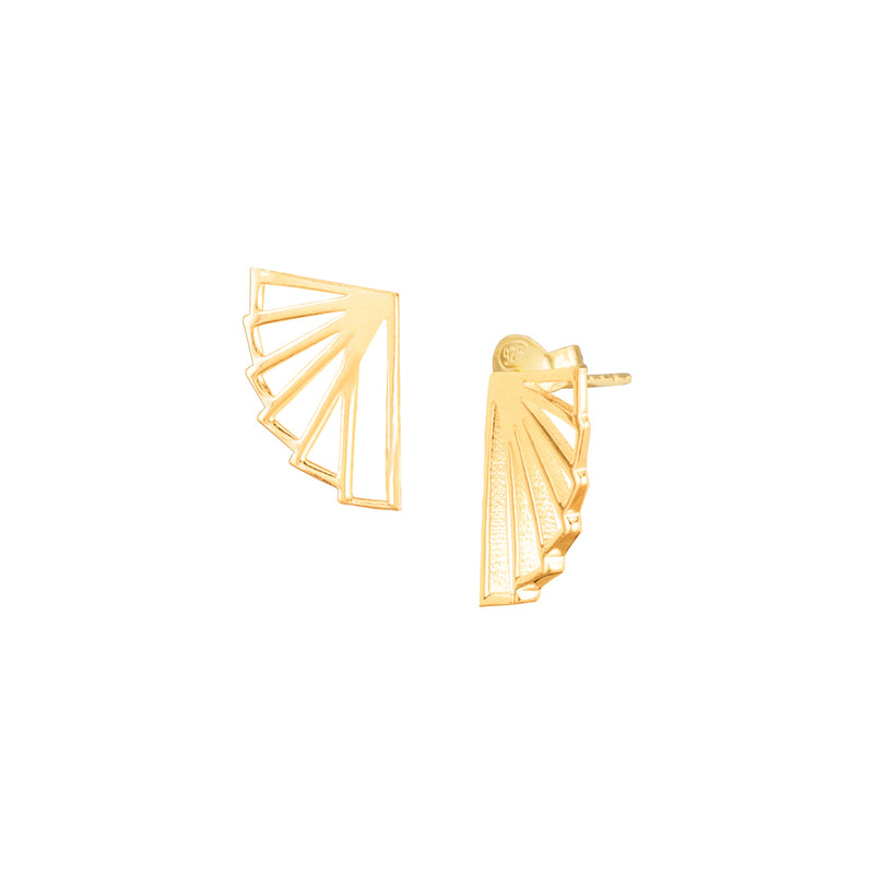 Fan Stud Earring Gold Art Deco Style