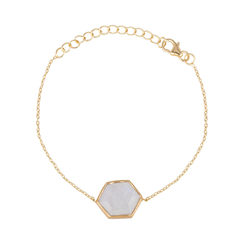 Hexagon Bracelet Stone Gold