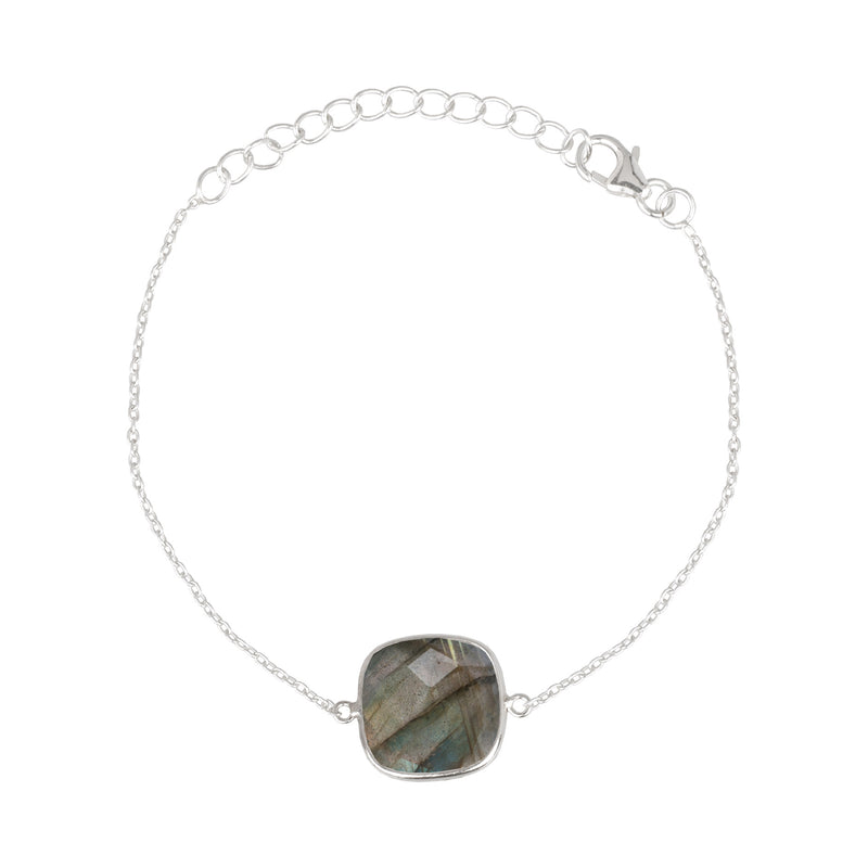 Rounded Square Stone Bracelet Silver
