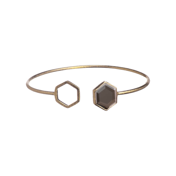 Hexa Stone with blank link bangle Gold