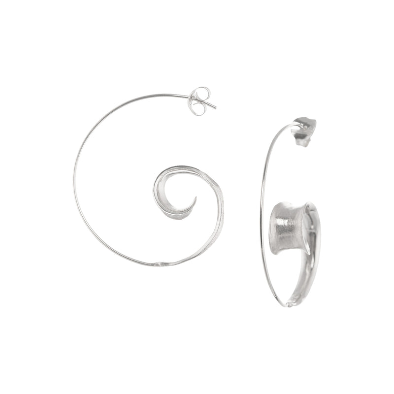 Earrings Curled Leaf Hoops