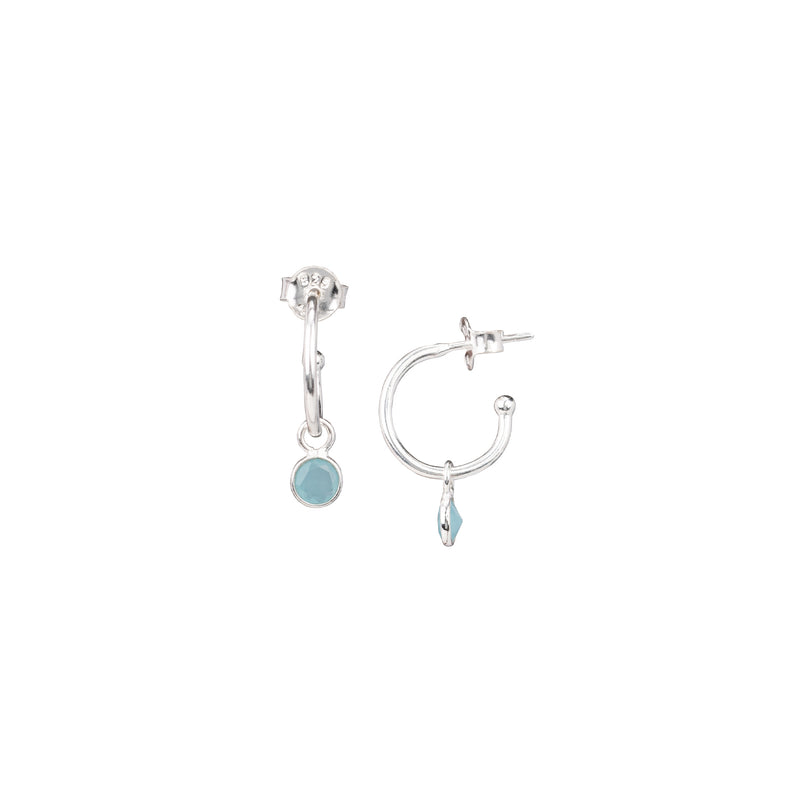 Small Hoop Earrings with Round Stone Drop Silver