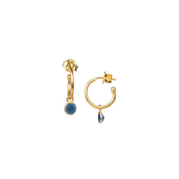 Small hoop Earrings with Round Stone Drop Gold