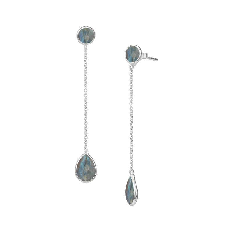 Round stone chained teardrop dangler Silver