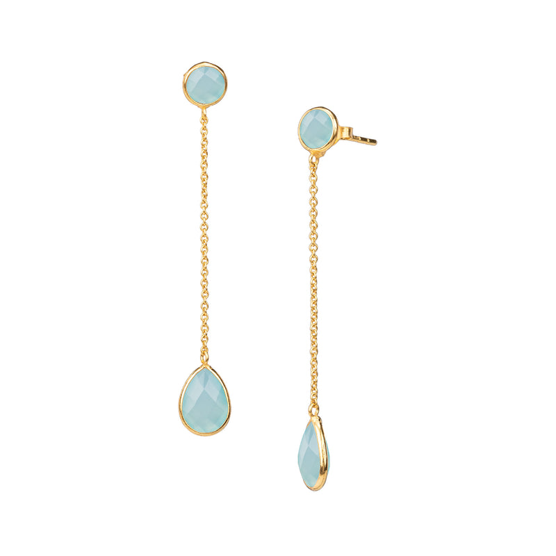 Round stone chained teardrop dangler Gold