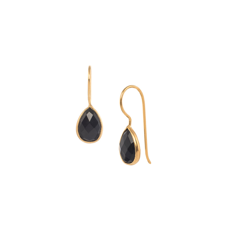 Small Teardrop Stone Hooks Gold