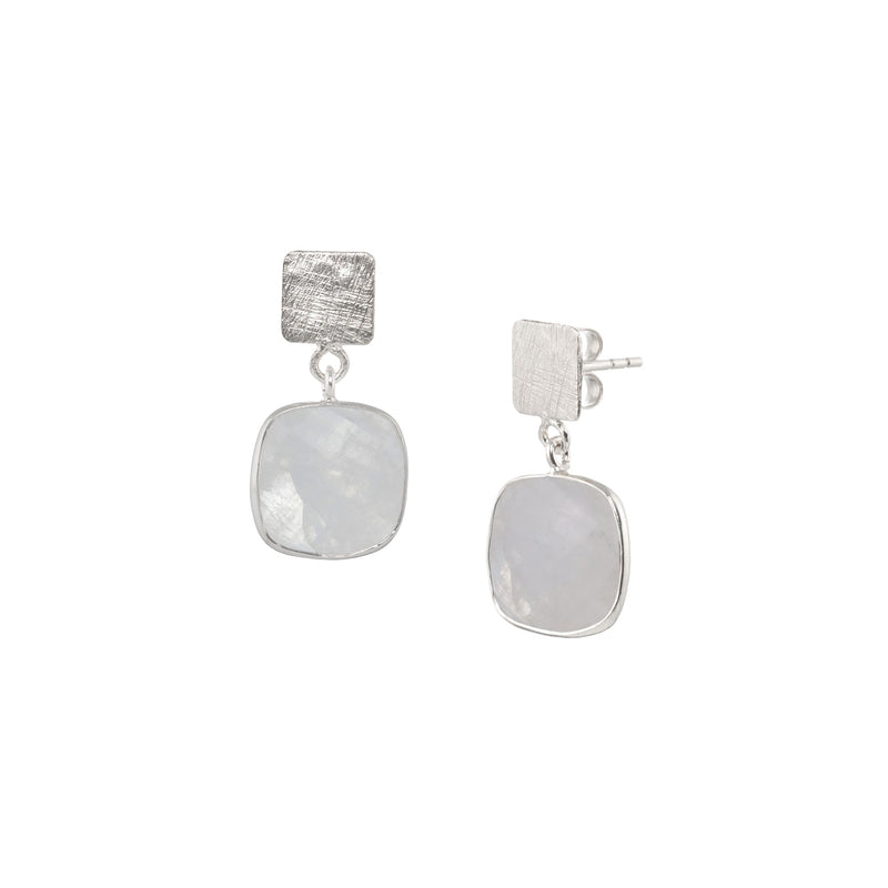 Square Plate & Rounded Square Stone Drop Silver