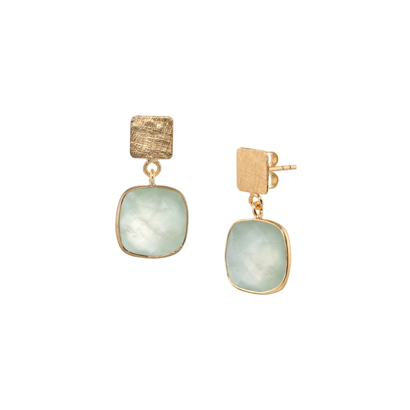 Square Plate & Rounded Square Stone Drop Gold