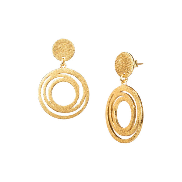 Earrings Disk with Intertwined Circles