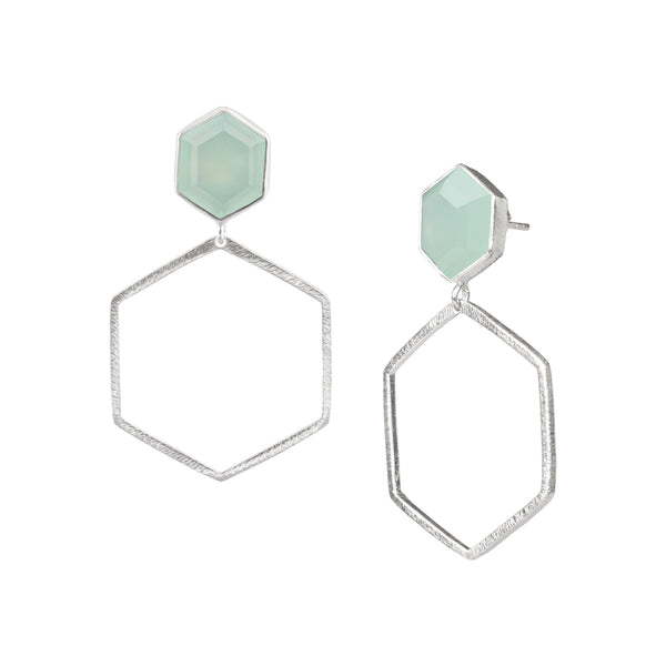 Hexagon on Hexagon Earring Stone Frame Small Silver