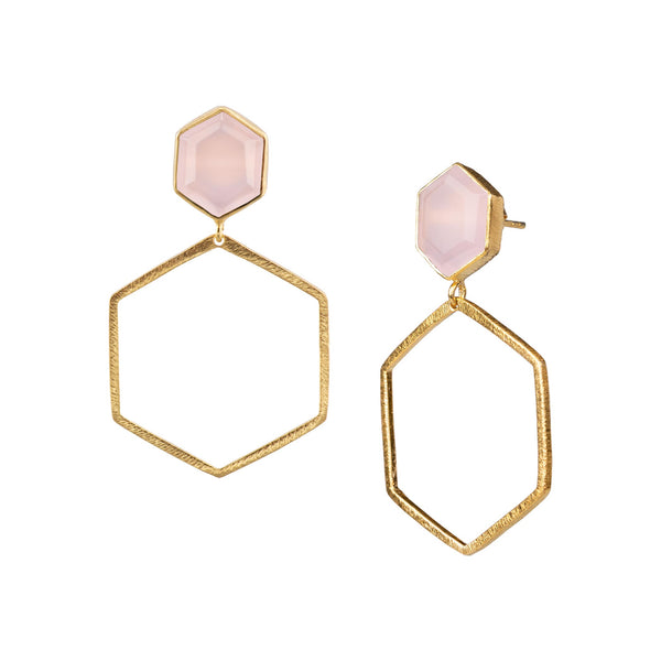 Hexagon on Hexagon Earring Stone Frame Small Gold