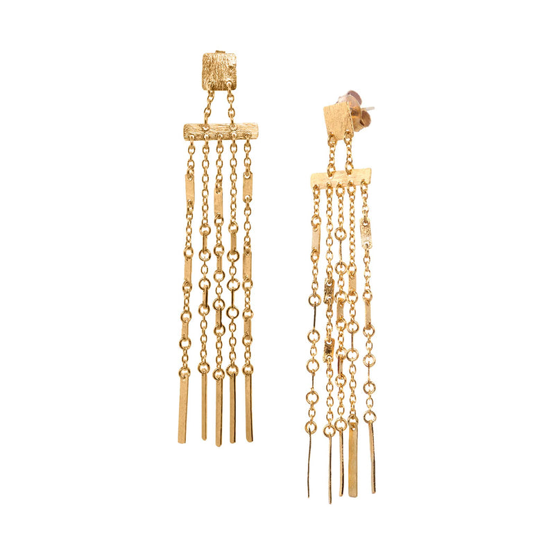 Squared Plate Five Chain Dangler Earrings