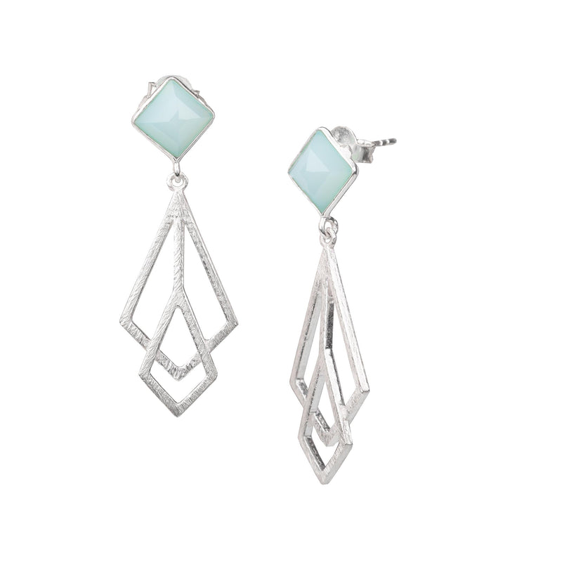 Rhombus Stud Earrings with Meshed Kites Danglers Silver