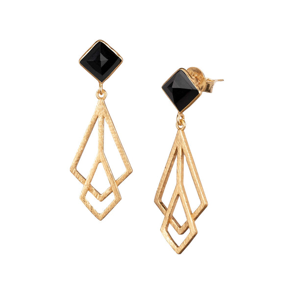 Rhombus-Ohrstecker mit Art-Deko Statement Danglers Gold