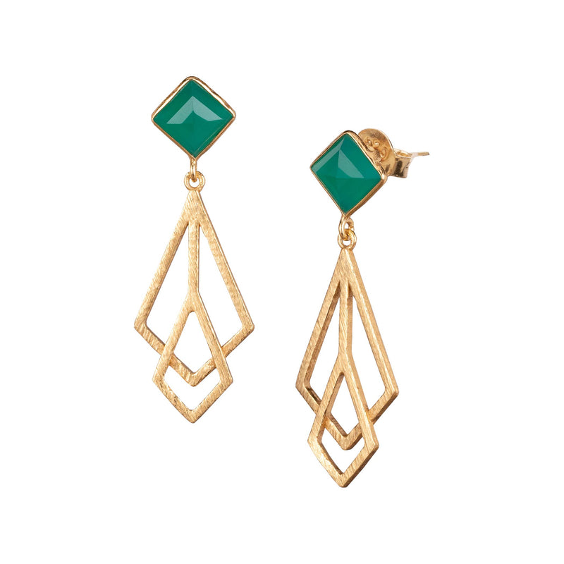 Rhombus Stud Earring with Meshed Kites Danglers Gold