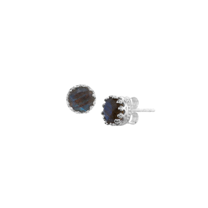 Small Round Stone Crown Studs Silver