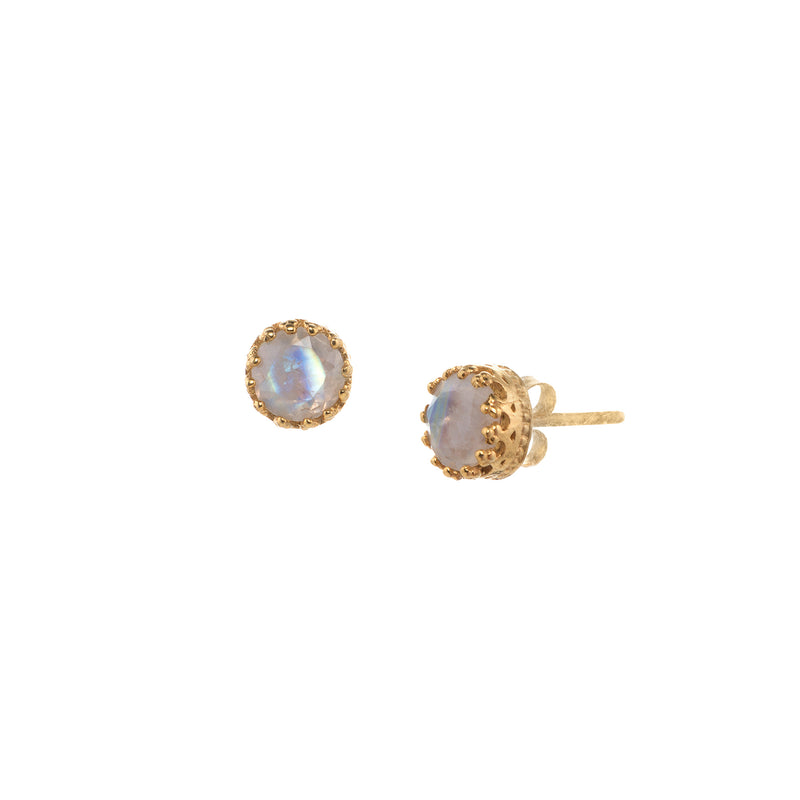 Small Round Stone Crown Studs Gold