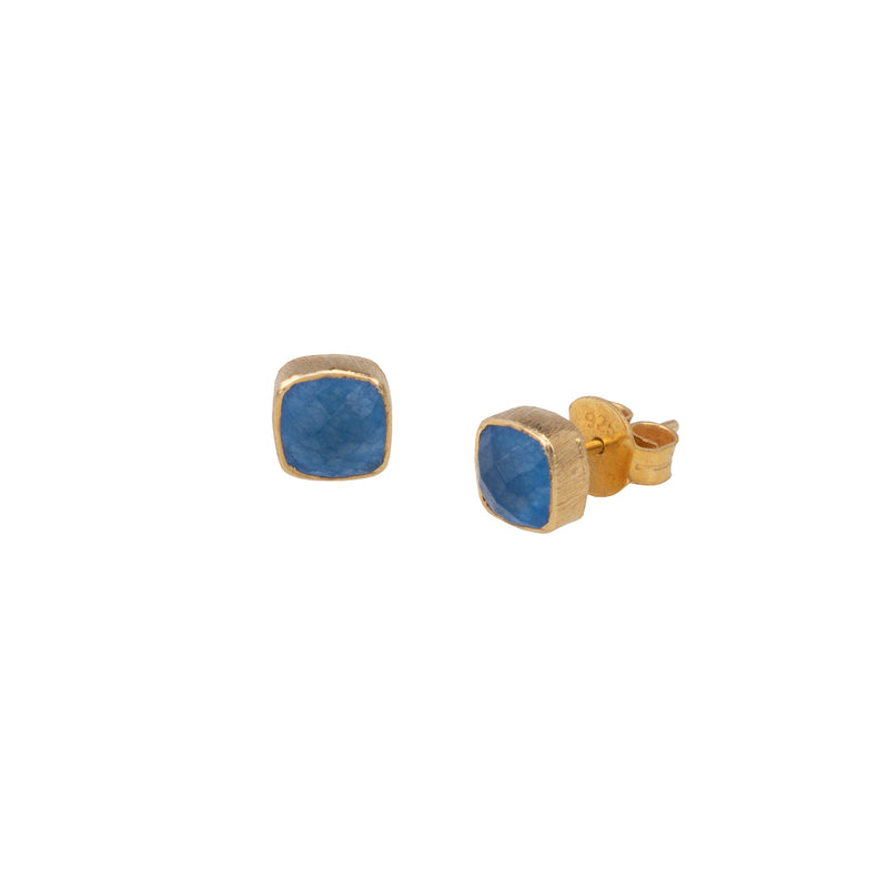 Small Rounded Square Stone Studs Gold