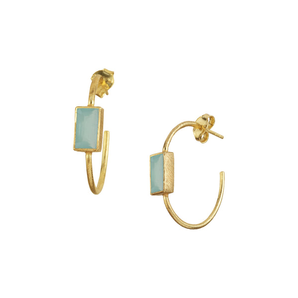 Hoops with rectangular stone Gold